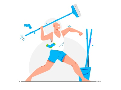Character: Cleaning cleaning brand man art stroke design line character illustration flat vector