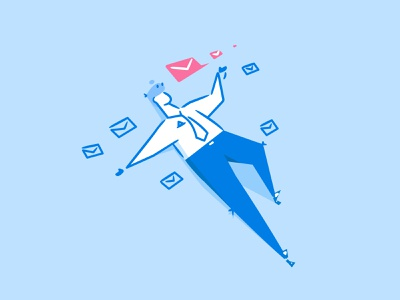 Clean up your inbox in minutes! email mail buisness man empty state onboarding design line character illustration flat vector