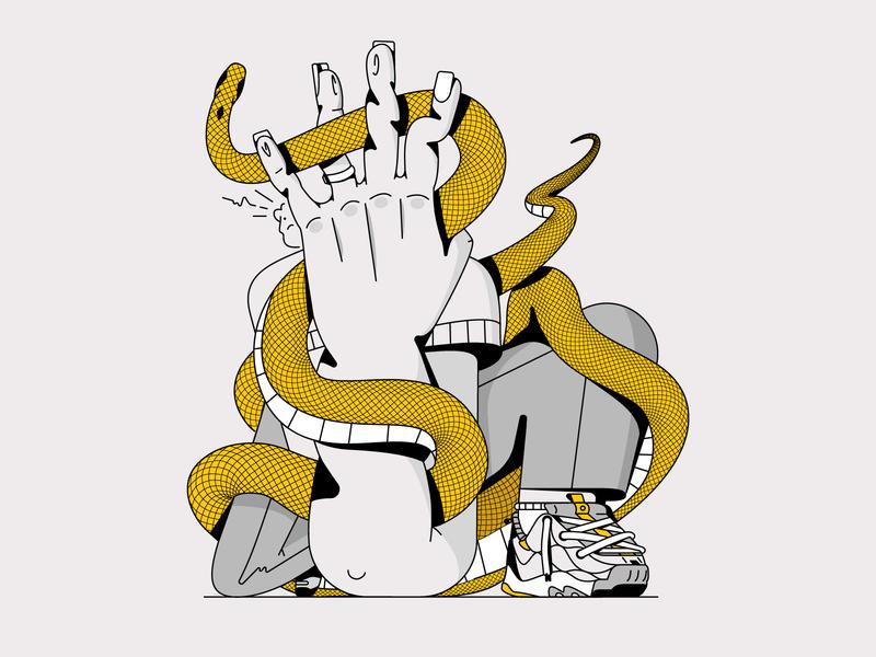 Snake snakes fracture arm sneakers nike snake man art design line character illustration flat vector