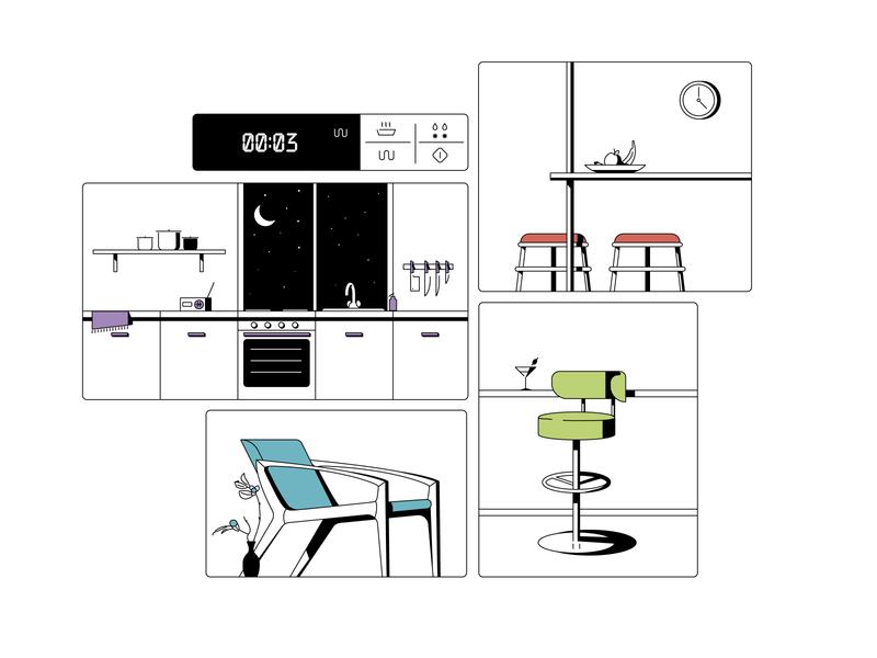 kitchen design line flat illustration interior house room flowers chair table kitchen
