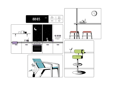 kitchen design line flat illustration interior house room flowers chair table kitchen