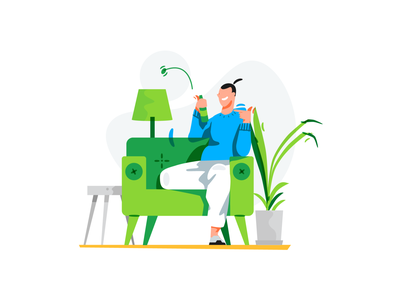 Beer man have fun man sofa beer stroke design line character illustration flat vector