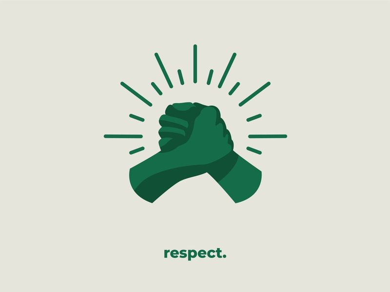 Respect series coworking coworkers hands vector design visual art illustration flat illustration art colors illustrator drawing respect green white values agency instagram visual