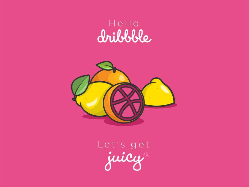 Hello Dribbble community introduction flat pink logo vector fruits illustration juicy hello hello dribble