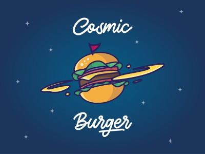 Cosmic Burger illustration art design planet burger space cosmic vector illustrator illustration