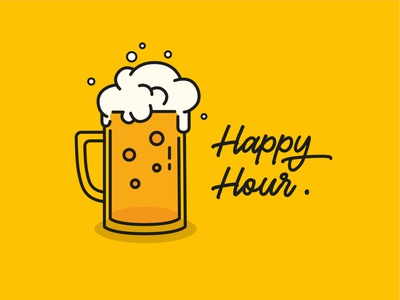 Happy Hour yellow hour happy drink illustration art beer flat design vector illustration