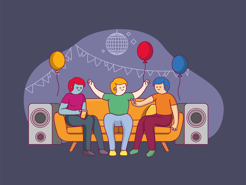 Enjoy the party trending website illustrator party characters drawing colors art flat illustration art design vector illustration