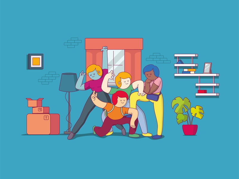 La Meilleure Coloc character furniture apartment roomates people website trending flatshare drawing colors art flat illustration art design vector illustration
