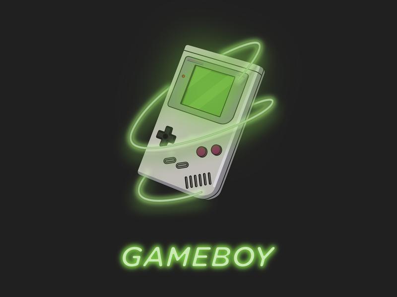 GAMEBOY childhood game console illustrator creative gem neon gameboy drawing colors art illustration art flat design vector illustration
