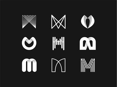 Marvelous M branding design white letter white blackandwhite minimal typography logotype lettermark lettering letter m letter letters branding logo illustrator drawing flat art design vector