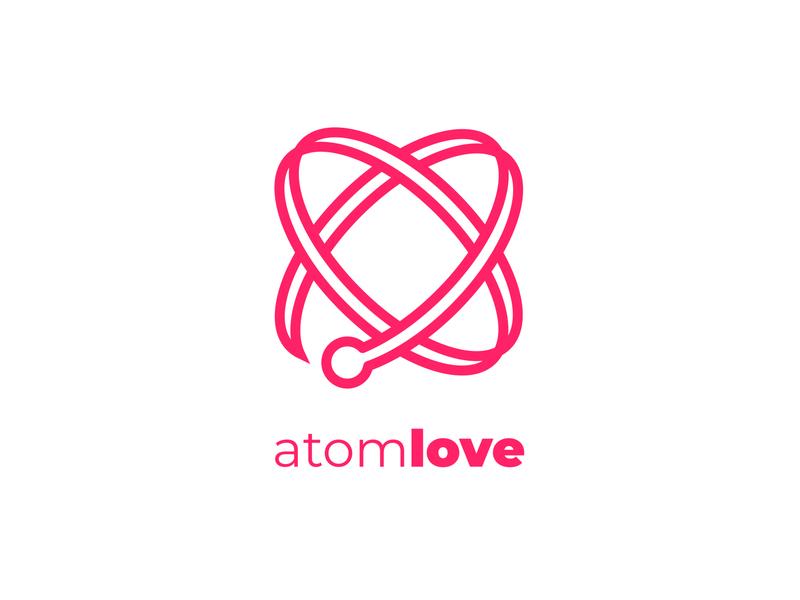 Atomlove logo design hearth love atom logotype branding logo illustrator drawing illustration art illustration art design vector