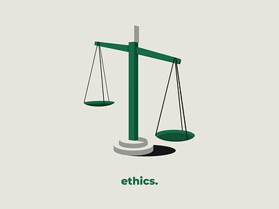 Ethics visual art agency instagram visual white green series balance shadows values ethics illustrator colors drawing illustration art flat illustration art design vector