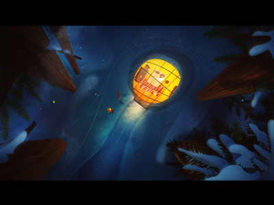Glass Igloos illustration animation hygge kakslauttanen winter snow finland igloo