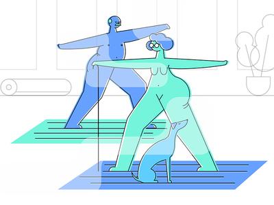 Character Development nude naked style illustration motion animation wip styleframe exercise dog character yoga