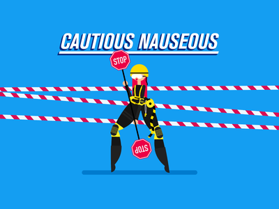 Cautious Nauseous helmet character stop sign flat safe safety caution illustration villain superhero motion