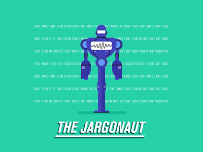 The Jargonaut illustration flat machine numbers words villain superhero motion character ai robot