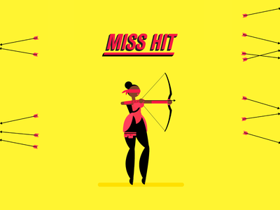 Miss Hit bow flat target shoot blind archery arrow illustration villain superhero motion character