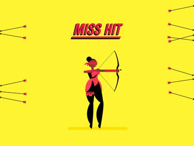Miss Hit bow flat target shoot blind archery arrow illustration villain superhero motion character
