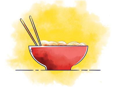Noodles Illustration new style art ad food illustrations 2d