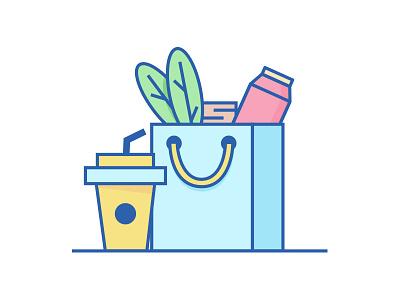 Food and grocery illustration illustration. food wallet grocery 2d food