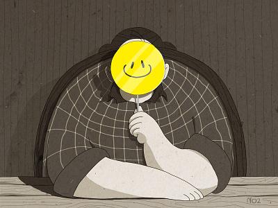 I'm Fine art flat character design illustration contradiction lie sad retro texture grainy smile face smiley face
