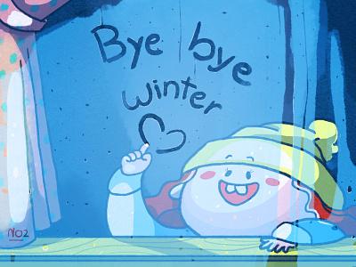 Bye bye, Winter character design art photoshop illustration girl raindrops rain window frost weather cold bye winter