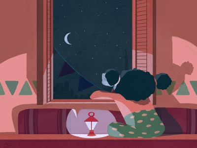Ramadan Vibes flat art illustration nubian staring light window cairo lantern home girl stars night moon crescent ramadan