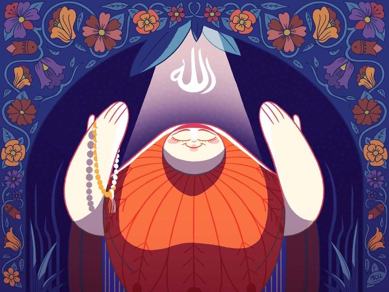 Doaa - Prayer photoshop character design illustration arm floral pattern arabesque khayamiya egyptian hijab woman god allah prayer invocation supplication doaa hadith prophet islam