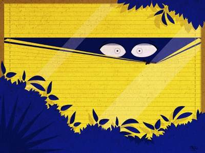 Who is there? illustrator terrified blue yellow trees plants shadow curtains window strips scared eye texture motiongraphic art flat vector illustration