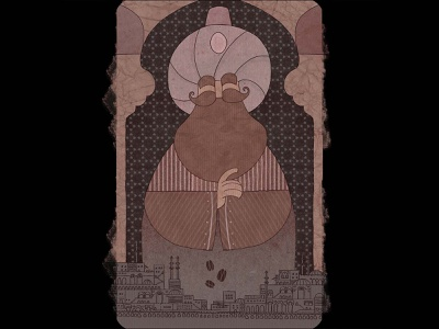 Sultan flat character design motiongraphic illustration city cairo old buildings pattern islamic arabic texture paper stains coffee egypt sultan