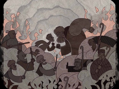 Battle flat character design motiongraphic illustration texture paper stains coffee protestant protest fight battle