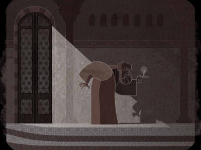 Hiding shadow candle light flat character design motiongraphic illustration pattern islamic arabic texture paper stains coffee escape hide