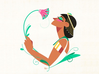 Flower flat texture character design illustration accessories gold design art floral pharaoh woman girl flower