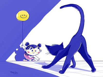 Hey Kitty kitty! photoshop art character design illustration shadow playing depth smily face balloon kitty cat girl