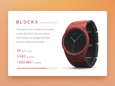 Daily UI challenge #032 — Crowdfunding Campaign watch crowdfunding challenge card ui dailyui daily app