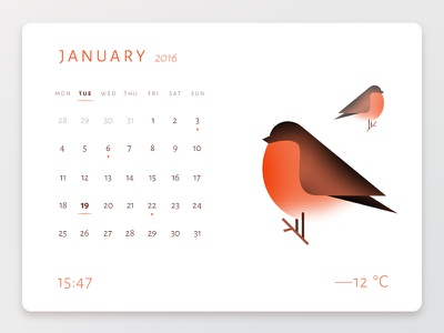 Daily UI challenge #038 — Calendar weather bullfinch birds bird calendar challenge card ui dailyui daily app