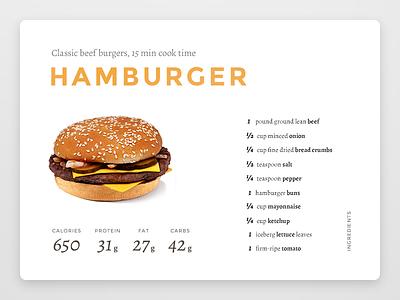 Daily UI challenge #040 — Recipe hamburger burger recipe challenge card ui dailyui daily app