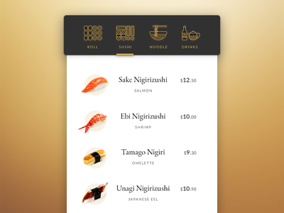 Daily UI challenge #043 — Food/Drink Menu menu sushi drink food challenge card ui dailyui daily app