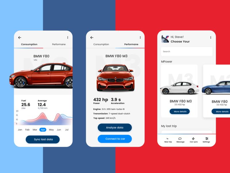 BMW M App concept app application navy blue red design mobile kosma navigation car ui  ux ux uxdesign app design bmw