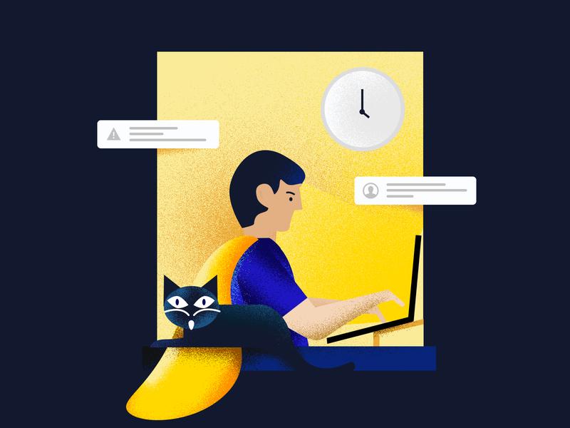 Remote work manager project it designer window remote kosma poland illustration cat night homework remote work