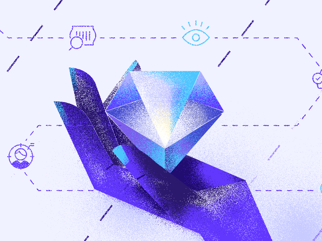 Sell Path article customer diamond violet hand blog illustration sell