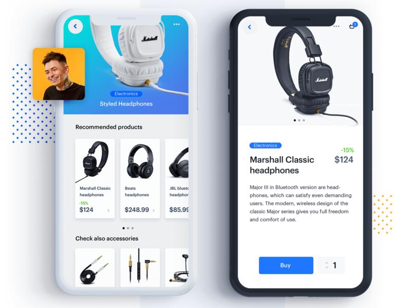 Music shop recommended products interface user people headphones iphone mockup polska poland app design lenar kosma music music app app it design mobile