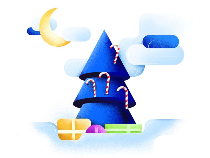 Merry Christmas startup branding product snow color noise christmas tree illustration illustrator card christmas