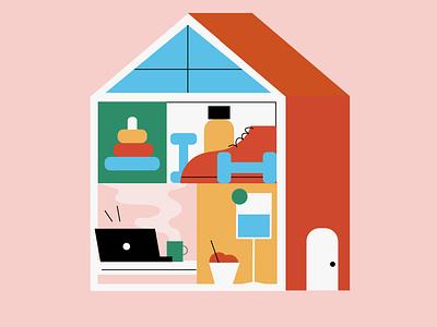 """Home"" Transformed remotework house home coronavirus covid covid19 flat illustration design"