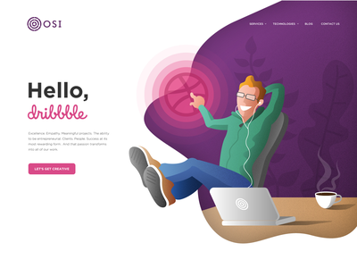 Hello Dribbble Illustration minimal webdesign freelance web vector illustration