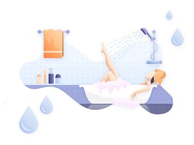 Bath Category Listing futurenaturedesign vector design bath branding ecommerce blue orange woman water illustration freelance vectorart domestico