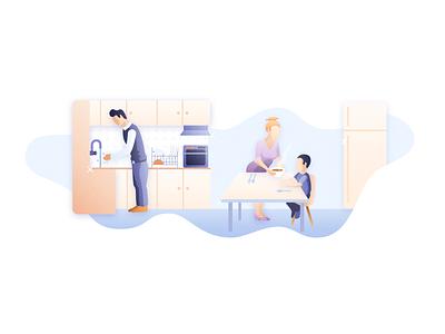 Kitchen Illustration domestico kitchen branding design ecommerce bulgaria web design vector illustration freelance futurenaturedesign