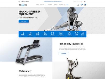 Maxxus Online Shop shop parallax blue fitness gym icons user interface ecommerce web design
