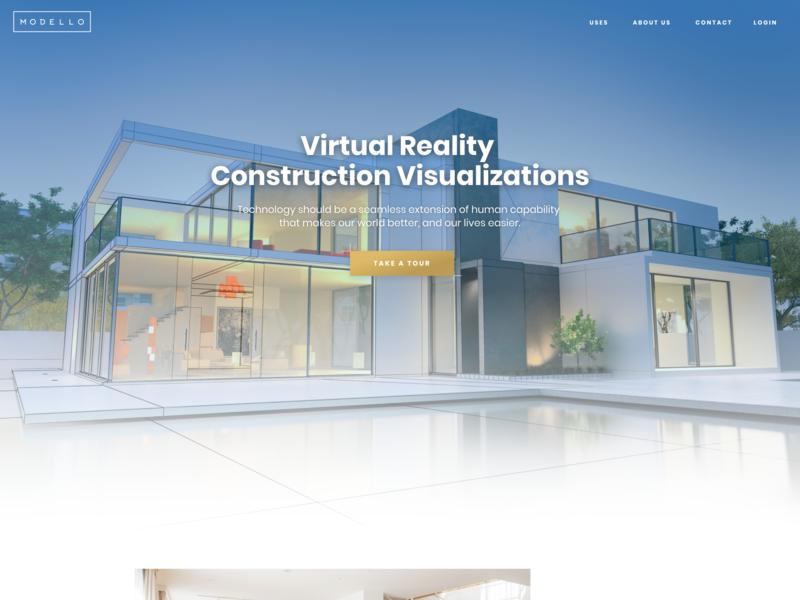Modello Corporate website gold blue landing web design freelance ui webdesign blending minimal architecture construction virtualreality virtual vr