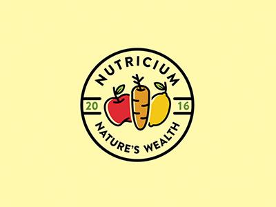 Nutricium logo concept branding design logo nutrition lemon apple carrot natre vegetables fruits nature wealth